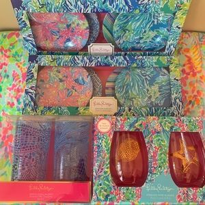 Lilly Pulitzer Bar Plates Cups Wine Glasses Set